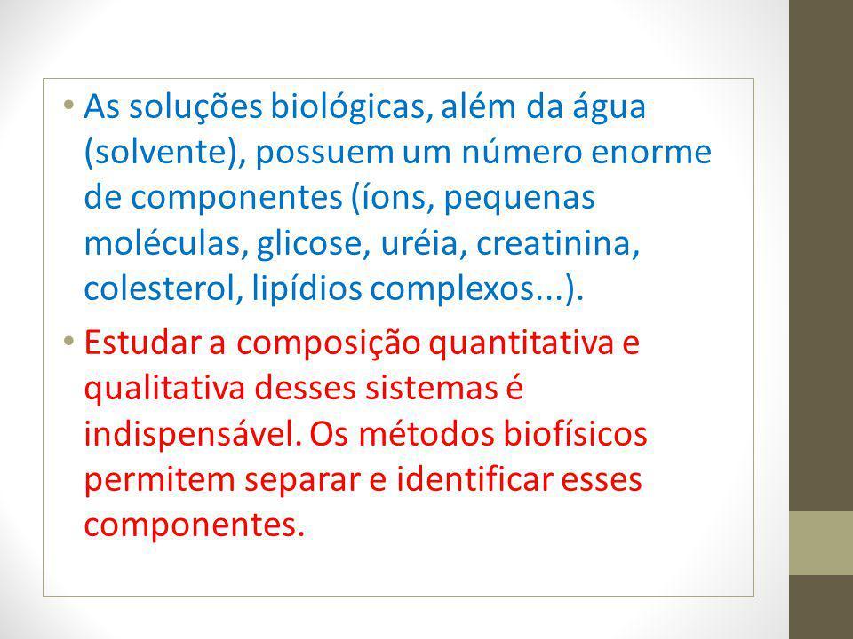 As soluções biológicas, além da água (solvente), possuem um número enorme de componentes (íons, pequenas moléculas, glicose, uréia, creatinina, colesterol, lipídios complexos...).