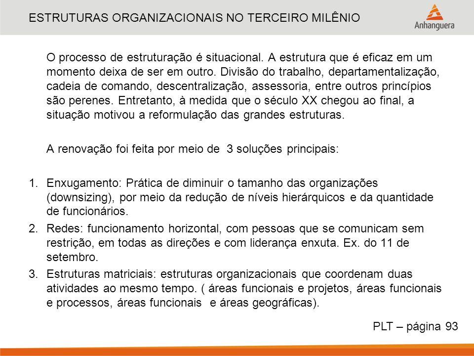 ESTRUTURAS ORGANIZACIONAIS NO TERCEIRO MILÊNIO