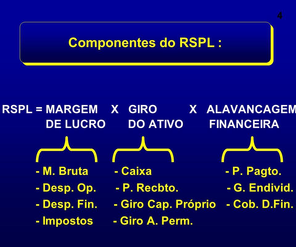 Observar que: } RSA= Retorno sobre o Ativo ROA= Return on Assets