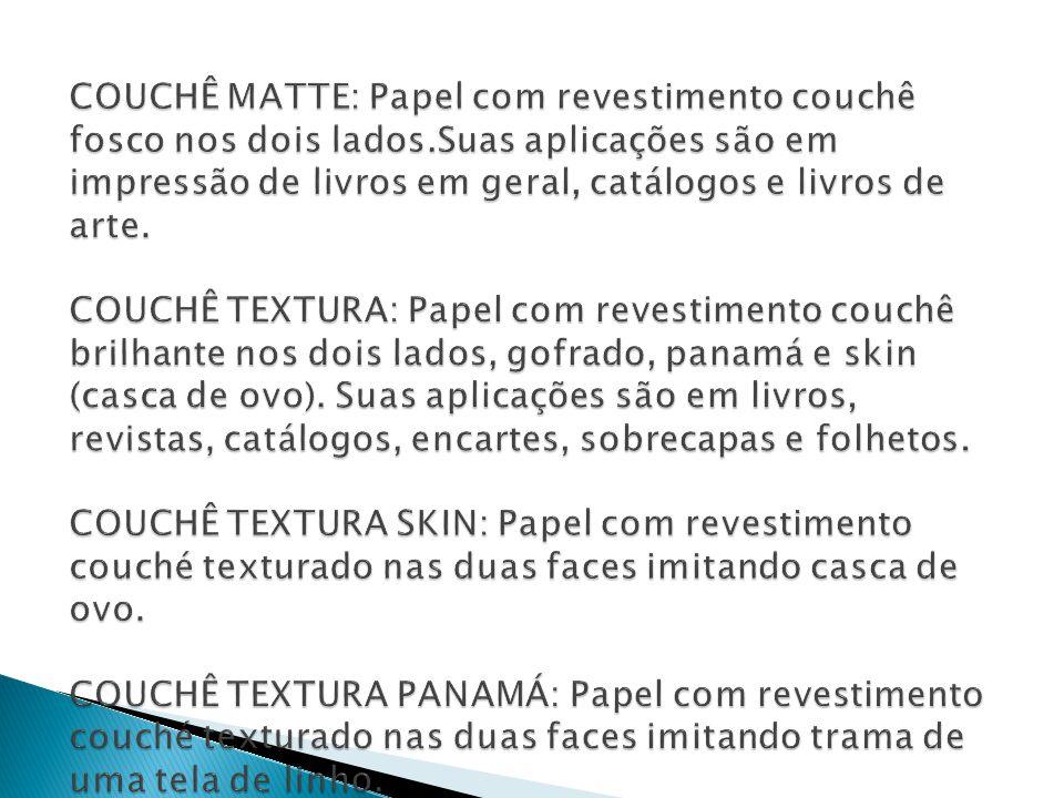 COUCHÊ MATTE: Papel com revestimento couchê fosco nos dois lados