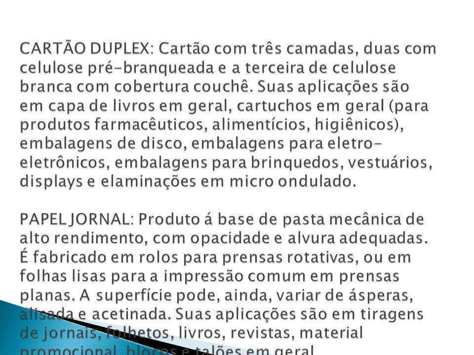 CARTÃO DUPLEX: Cartão com três camadas, duas com celulose pré-branqueada e a terceira de celulose branca com cobertura couchê.