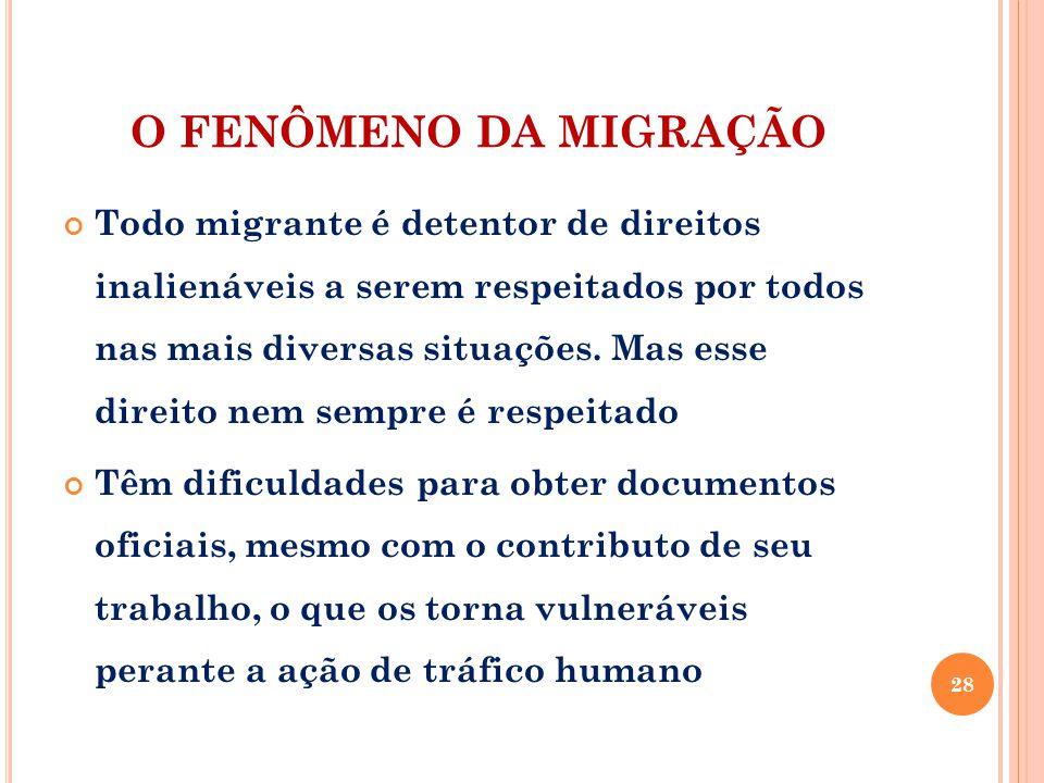 O FENÔMENO DA MIGRAÇÃO
