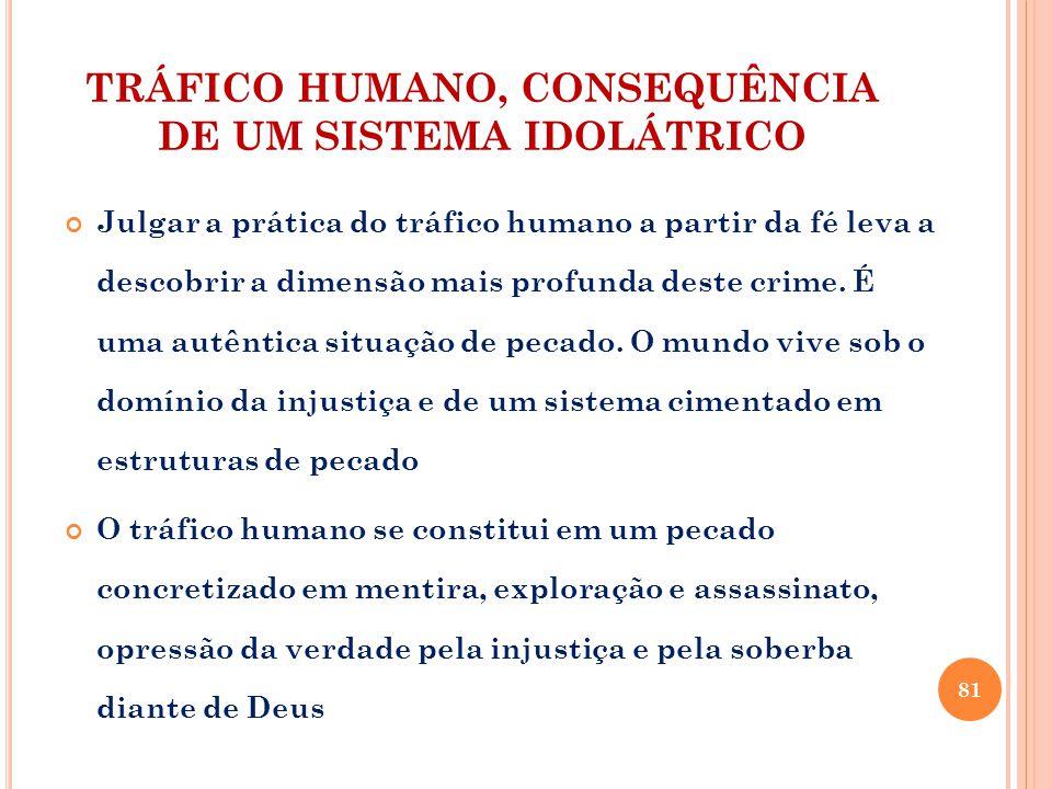 TRÁFICO HUMANO, CONSEQUÊNCIA DE UM SISTEMA IDOLÁTRICO