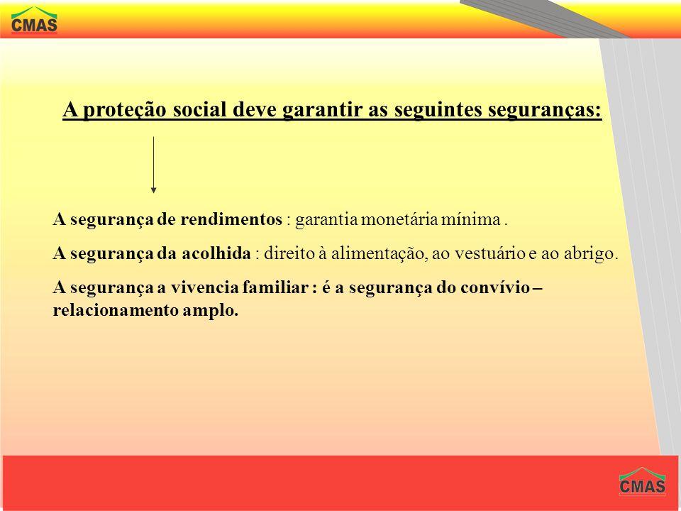 A proteção social deve garantir as seguintes seguranças: