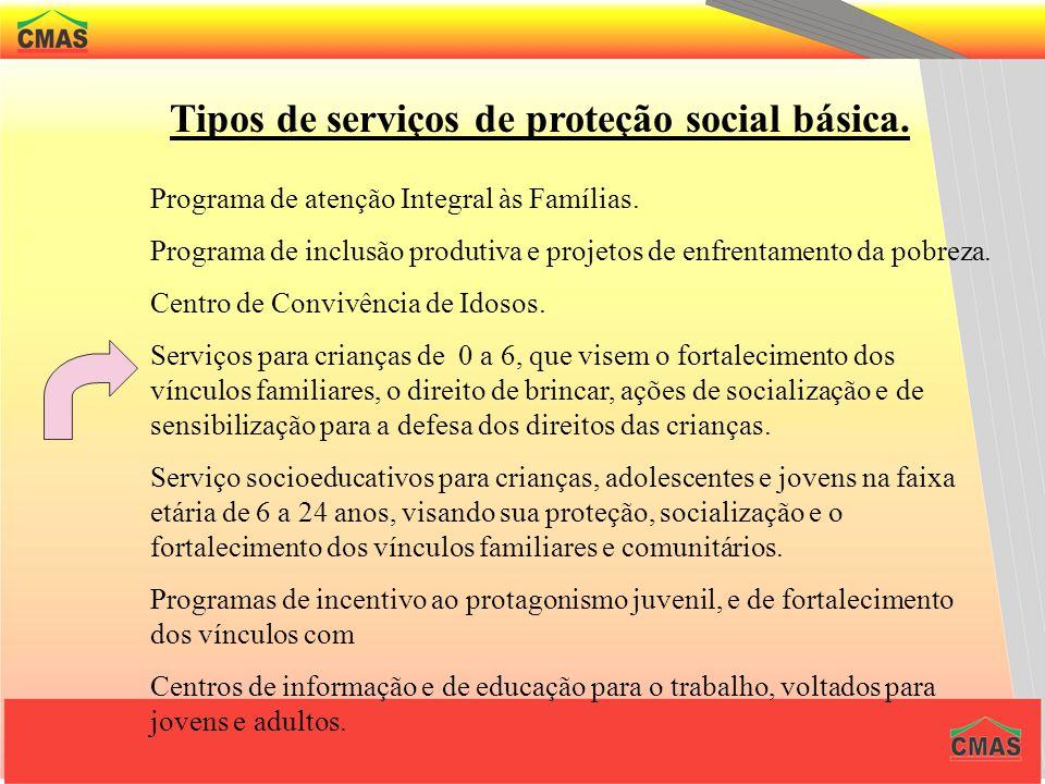 Tipos de serviços de proteção social básica.