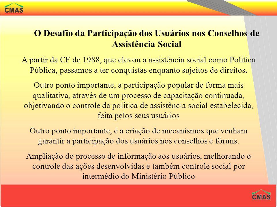 O Desafio da Participação dos Usuários nos Conselhos de Assistência Social