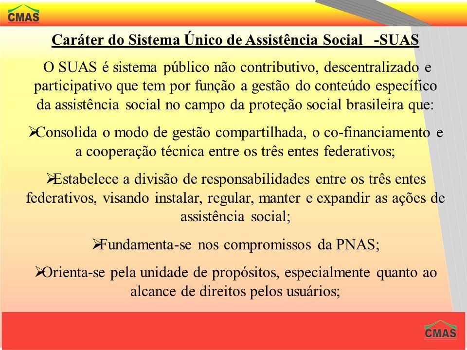 Caráter do Sistema Único de Assistência Social -SUAS