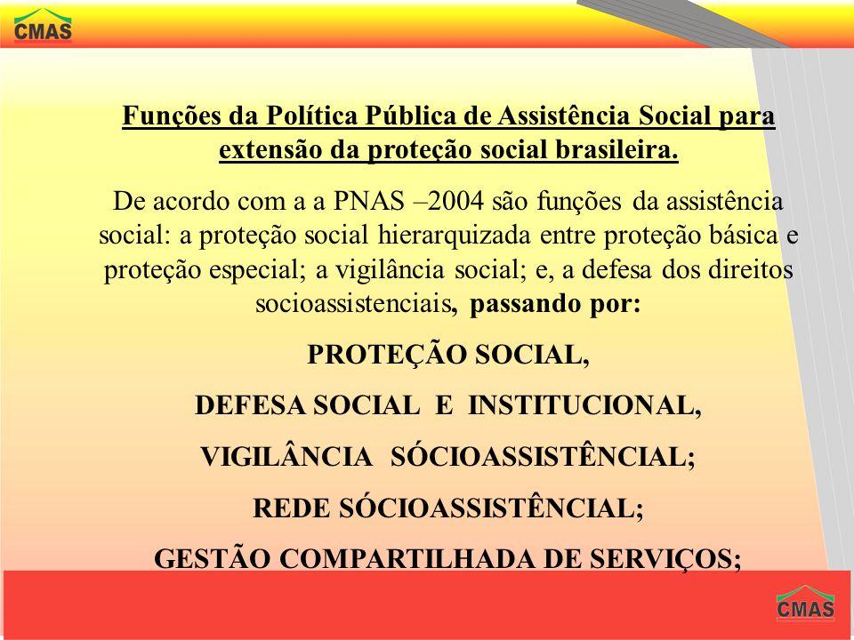 DEFESA SOCIAL E INSTITUCIONAL, VIGILÂNCIA SÓCIOASSISTÊNCIAL;