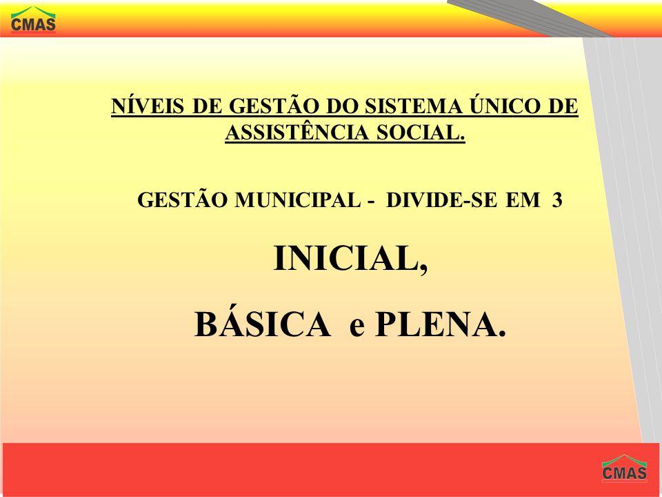 NÍVEIS DE GESTÃO DO SISTEMA ÚNICO DE ASSISTÊNCIA SOCIAL.