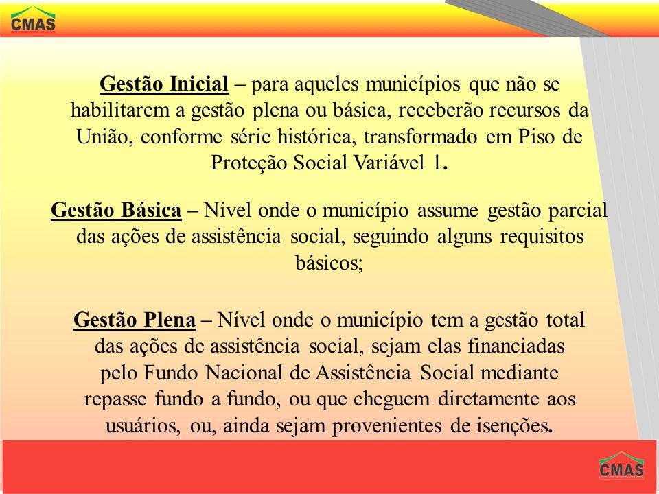 Gestão Inicial – para aqueles municípios que não se habilitarem a gestão plena ou básica, receberão recursos da União, conforme série histórica, transformado em Piso de Proteção Social Variável 1.
