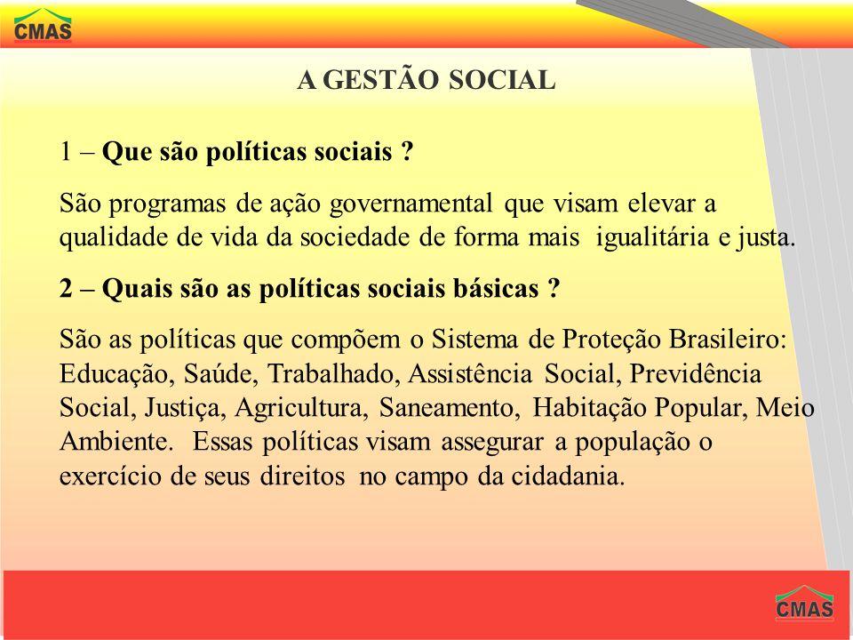 A GESTÃO SOCIAL 1 – Que são políticas sociais