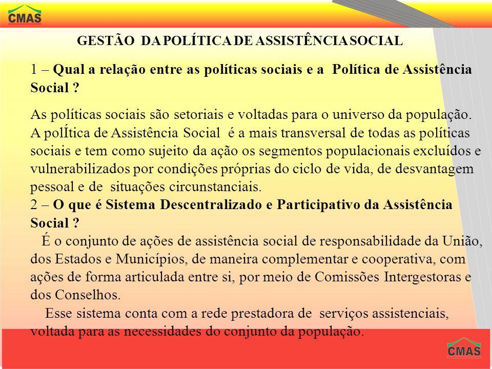 GESTÃO DA POLÍTICA DE ASSISTÊNCIA SOCIAL