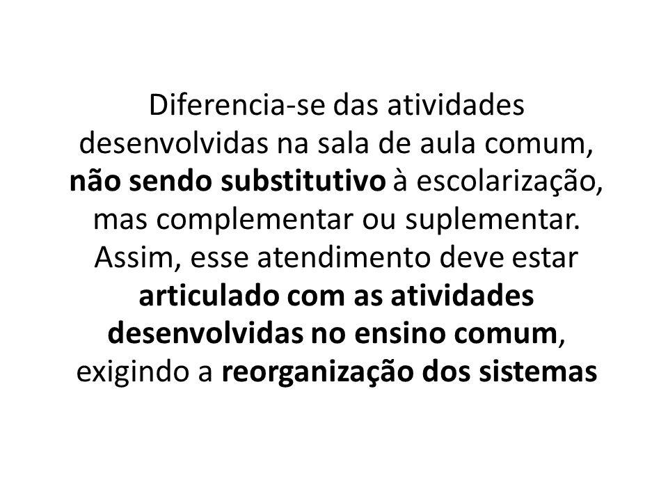 Diferencia-se das atividades desenvolvidas na sala de aula comum, não sendo substitutivo à escolarização, mas complementar ou suplementar.
