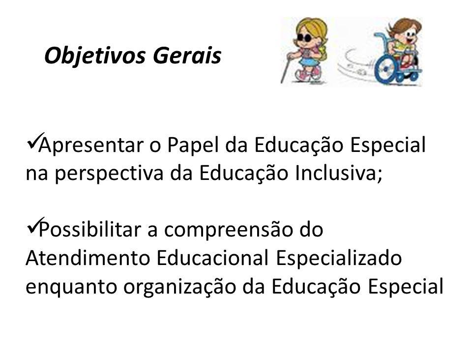 Objetivos Gerais Apresentar o Papel da Educação Especial na perspectiva da Educação Inclusiva;