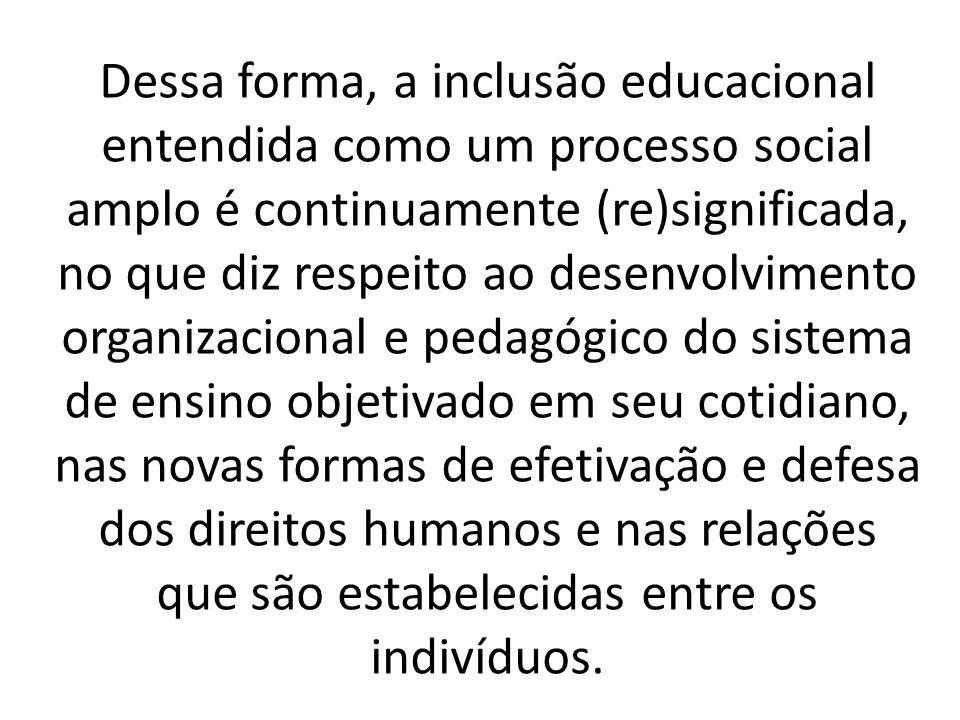 Dessa forma, a inclusão educacional entendida como um processo social amplo é continuamente (re)significada, no que diz respeito ao desenvolvimento organizacional e pedagógico do sistema de ensino objetivado em seu cotidiano, nas novas formas de efetivação e defesa dos direitos humanos e nas relações que são estabelecidas entre os indivíduos.