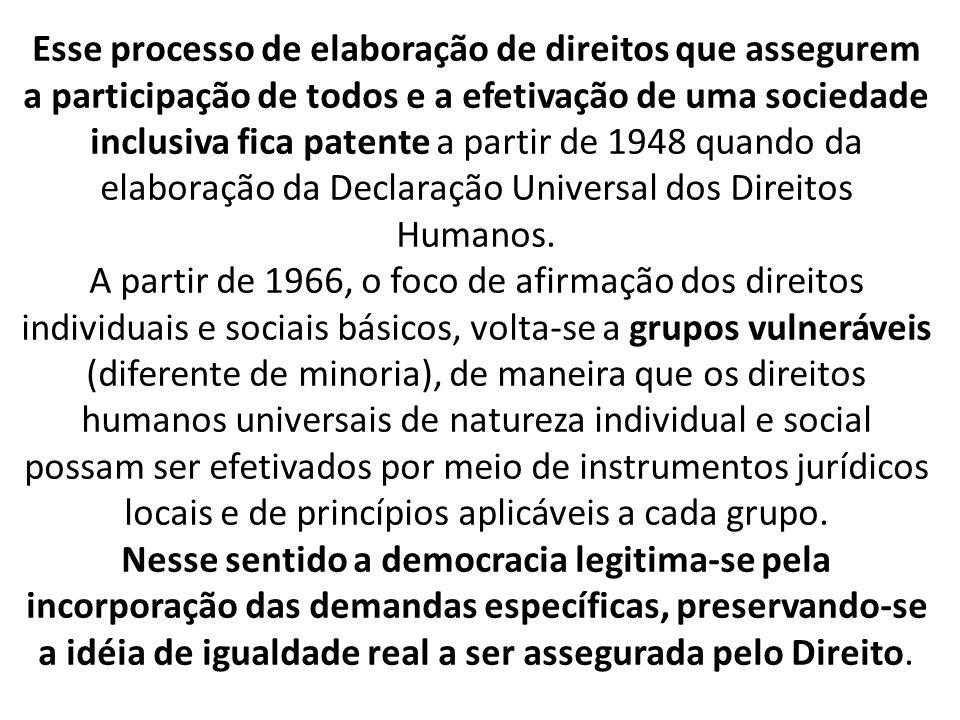 Esse processo de elaboração de direitos que assegurem a participação de todos e a efetivação de uma sociedade inclusiva fica patente a partir de 1948 quando da elaboração da Declaração Universal dos Direitos Humanos.