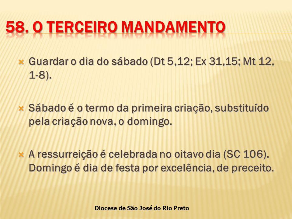 58. O TERCEIRO MANDAMENTO Guardar o dia do sábado (Dt 5,12; Ex 31,15; Mt 12, 1-8).