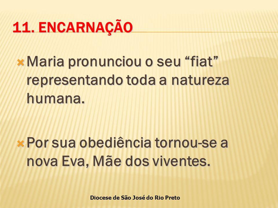11. ENCARNAÇÃO Maria pronunciou o seu fiat representando toda a natureza humana.
