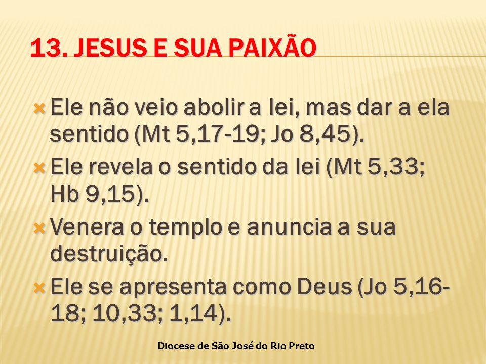 13. JESUS E SUA PAIXÃO Ele não veio abolir a lei, mas dar a ela sentido (Mt 5,17-19; Jo 8,45). Ele revela o sentido da lei (Mt 5,33; Hb 9,15).
