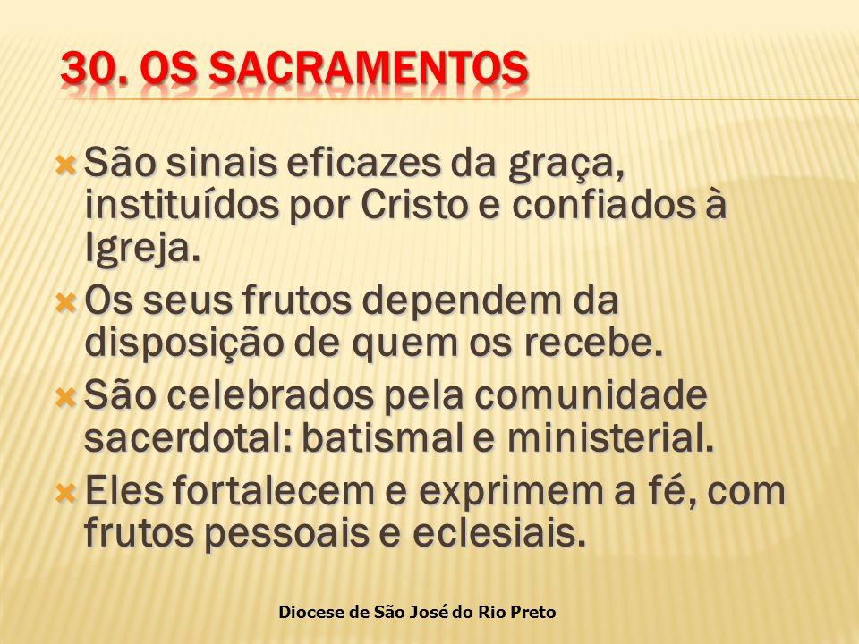 30. OS SACRAMENTOS São sinais eficazes da graça, instituídos por Cristo e confiados à Igreja.