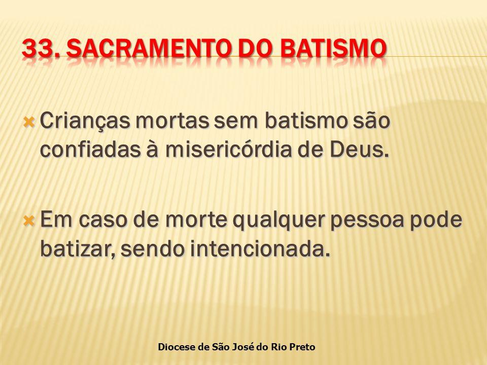 33. SACRAMENTO DO BATISMO Crianças mortas sem batismo são confiadas à misericórdia de Deus.