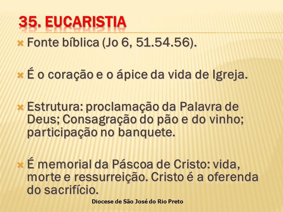 35. EUCARISTIA Fonte bíblica (Jo 6, 51.54.56).