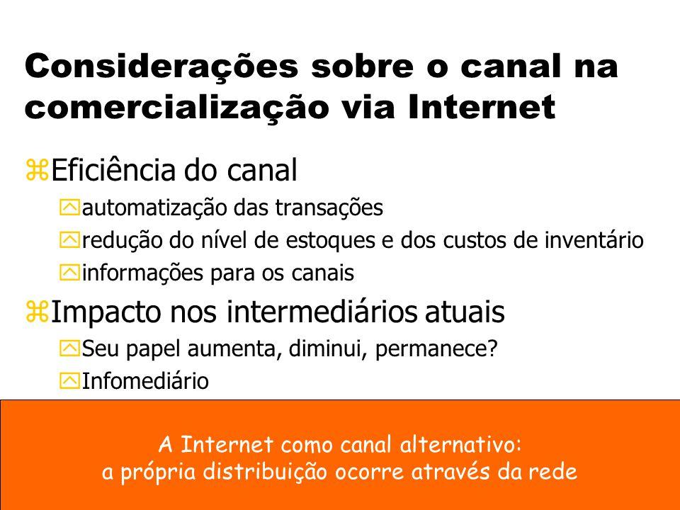 Considerações sobre o canal na comercialização via Internet