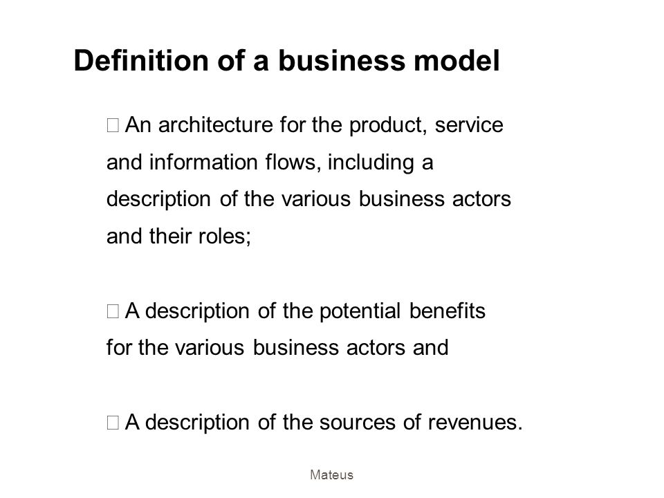Definition of a business model