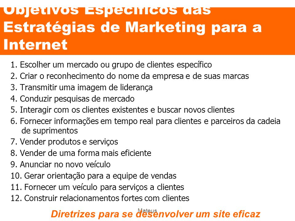 Objetivos Específicos das Estratégias de Marketing para a Internet