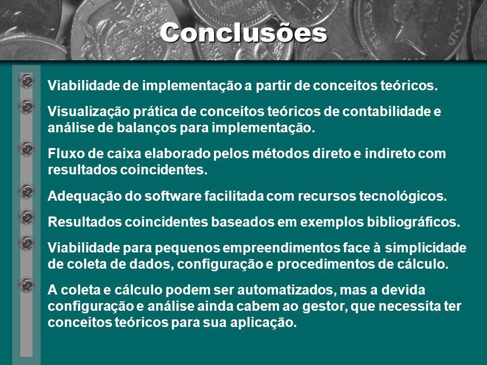 Conclusões Viabilidade de implementação a partir de conceitos teóricos.