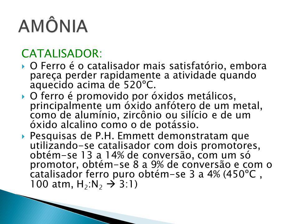 AMÔNIA CATALISADOR: O Ferro é o catalisador mais satisfatório, embora pareça perder rapidamente a atividade quando aquecido acima de 520ºC.