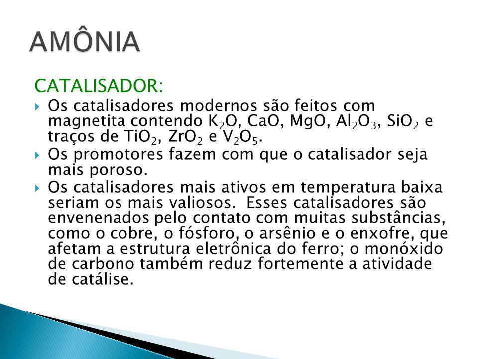 AMÔNIA CATALISADOR: Os catalisadores modernos são feitos com magnetita contendo K2O, CaO, MgO, Al2O3, SiO2 e traços de TiO2, ZrO2 e V2O5.