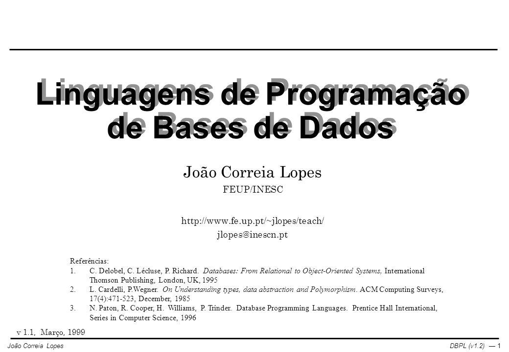 Linguagens de Programação de Bases de Dados