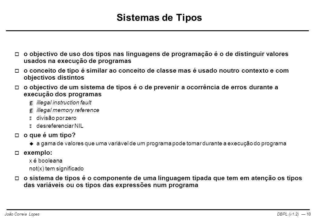Sistemas de Tipos o objectivo de uso dos tipos nas linguagens de programação é o de distinguir valores usados na execução de programas.