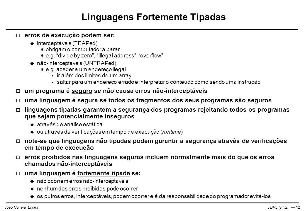 Linguagens Fortemente Tipadas