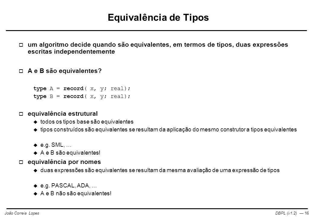 Equivalência de Tipos um algoritmo decide quando são equivalentes, em termos de tipos, duas expressões escritas independentemente.