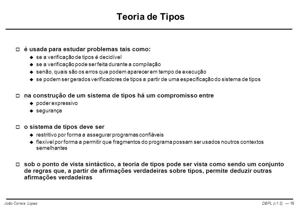 Teoria de Tipos é usada para estudar problemas tais como: