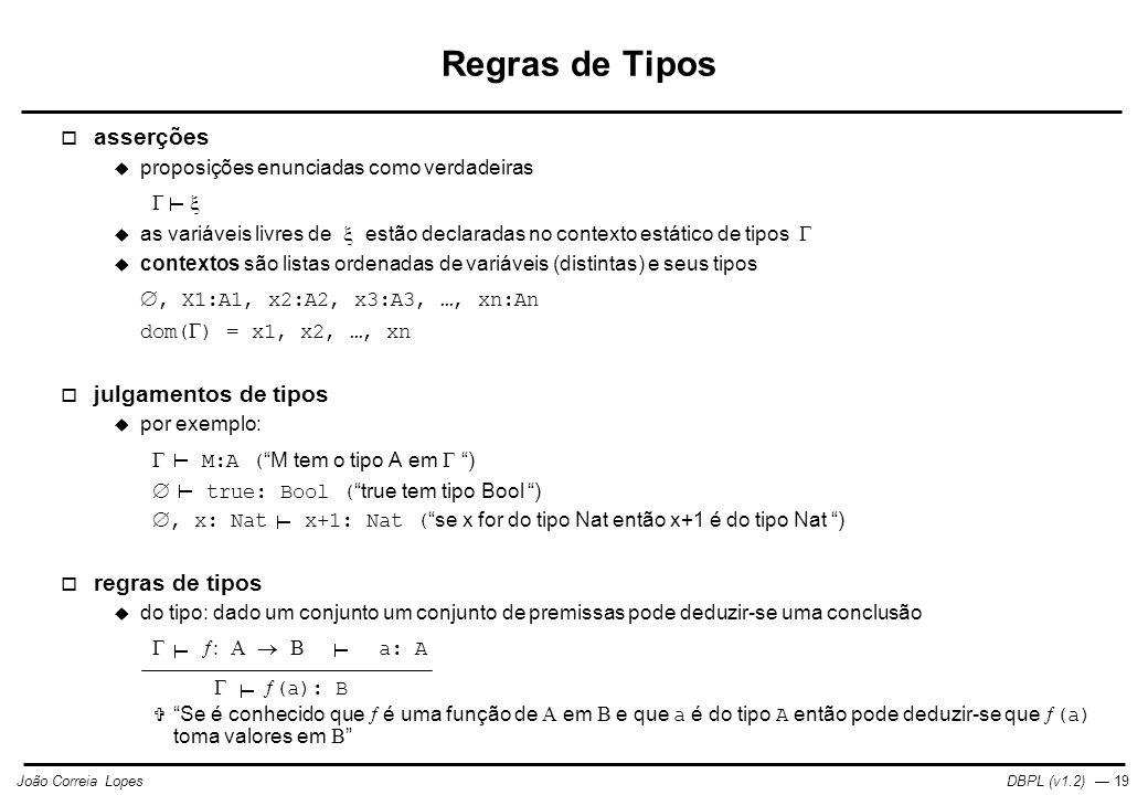 Regras de Tipos asserções julgamentos de tipos regras de tipos