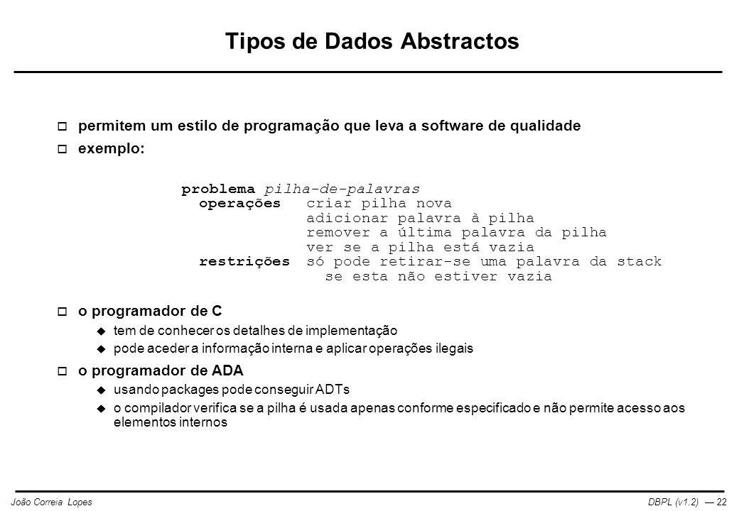 Tipos de Dados Abstractos