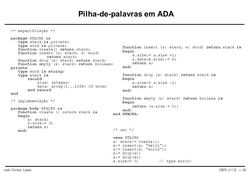 Pilha-de-palavras em ADA