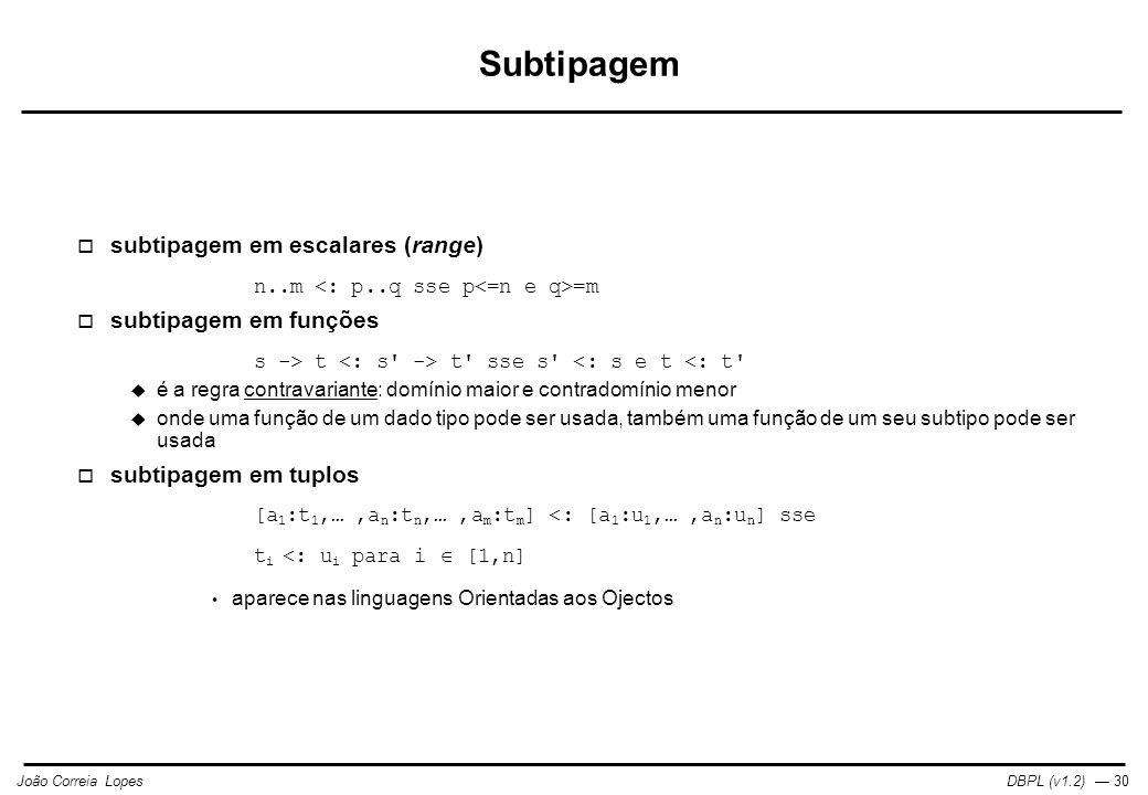 Subtipagem subtipagem em escalares (range) subtipagem em funções