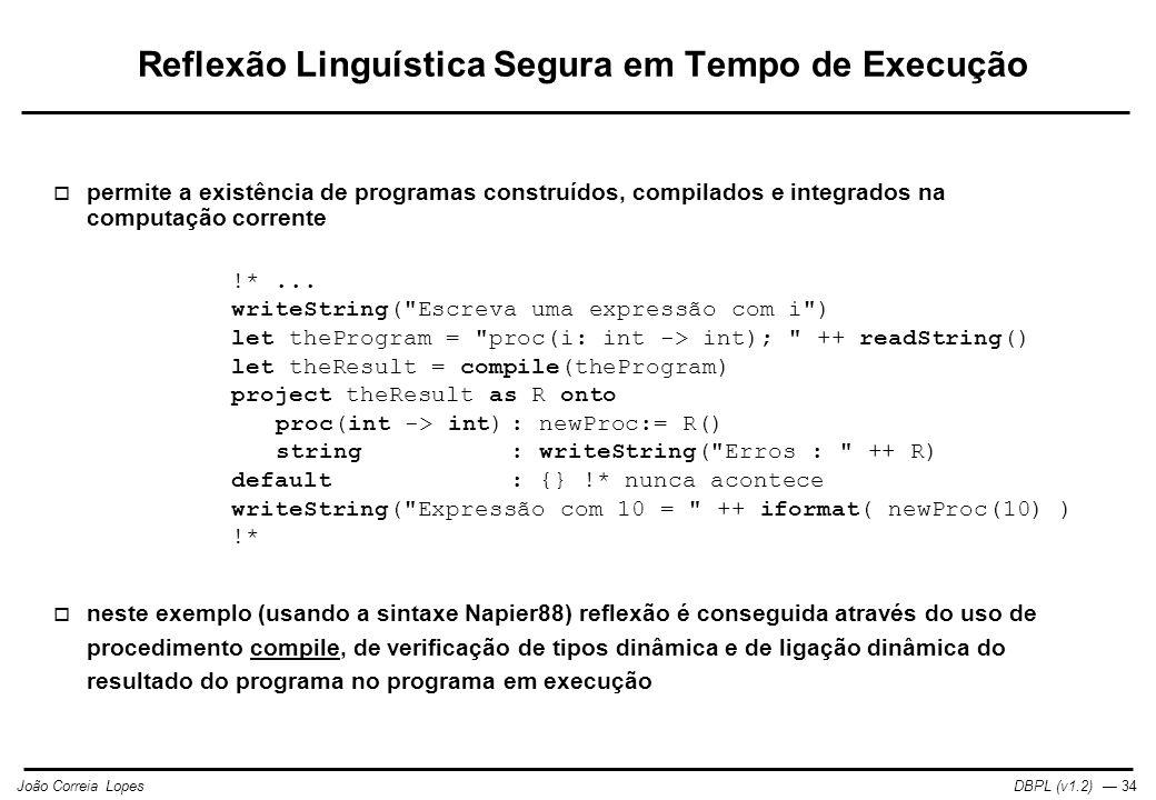 Reflexão Linguística Segura em Tempo de Execução