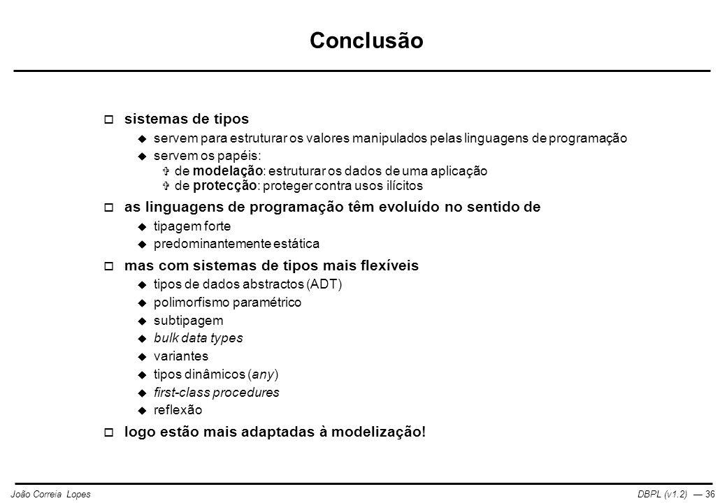 Conclusão sistemas de tipos