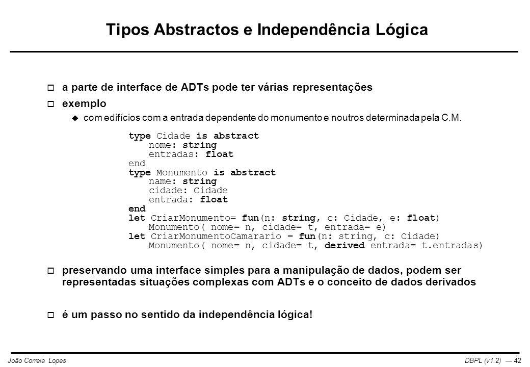Tipos Abstractos e Independência Lógica
