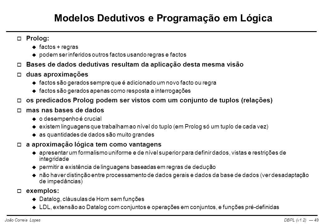 Modelos Dedutivos e Programação em Lógica