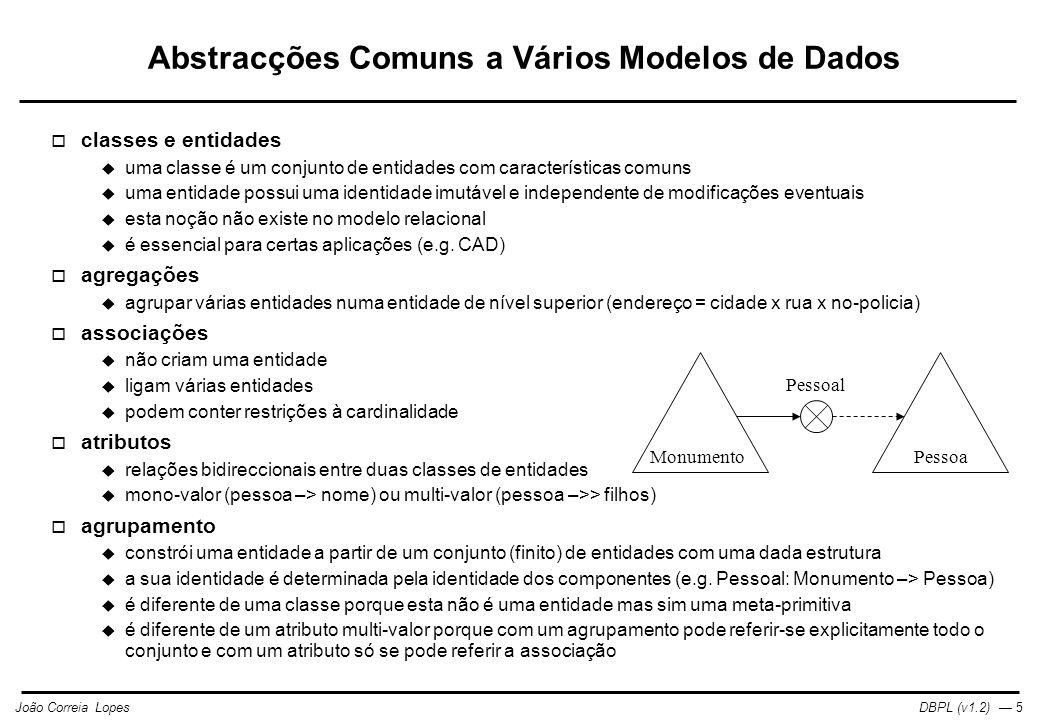Abstracções Comuns a Vários Modelos de Dados