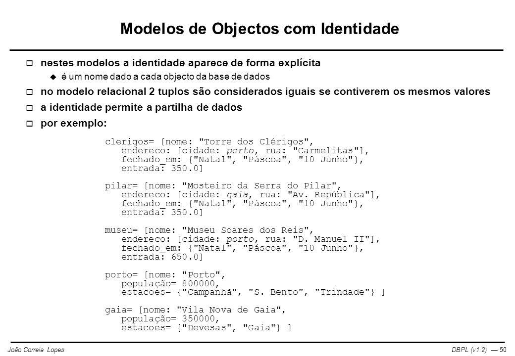 Modelos de Objectos com Identidade