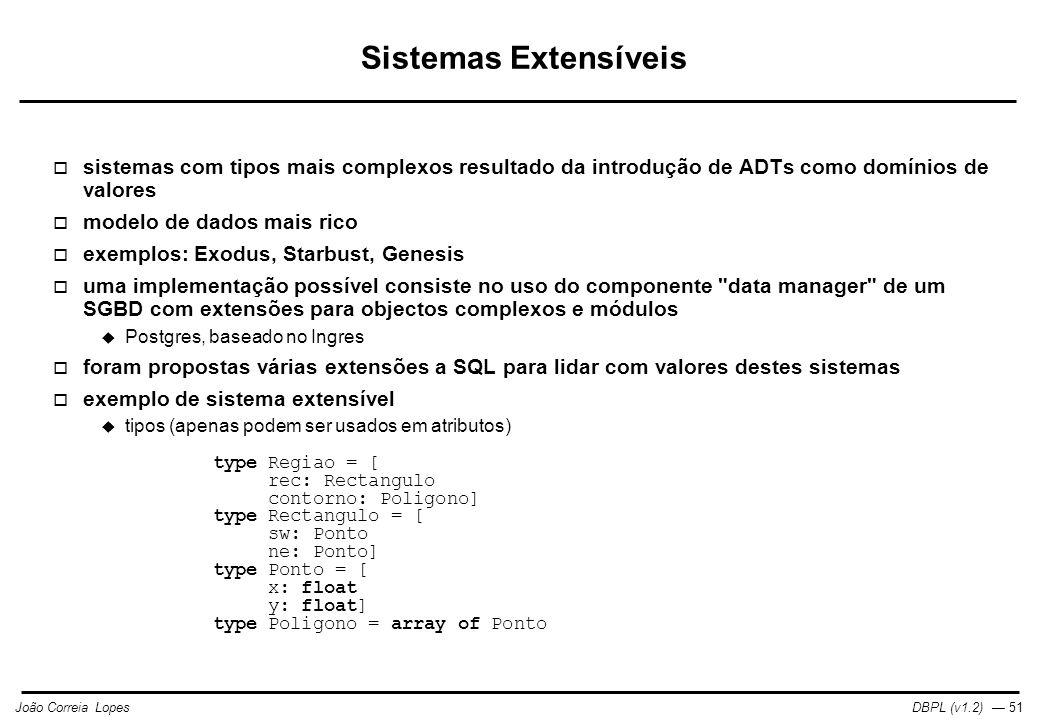 Sistemas Extensíveis sistemas com tipos mais complexos resultado da introdução de ADTs como domínios de valores.