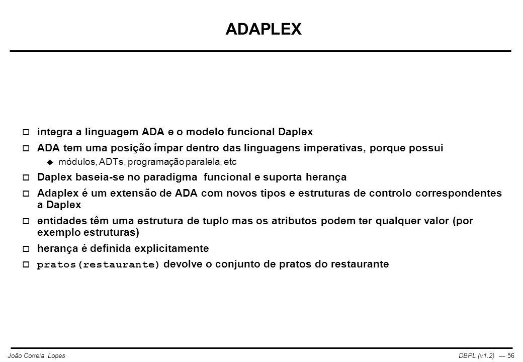 ADAPLEX integra a linguagem ADA e o modelo funcional Daplex