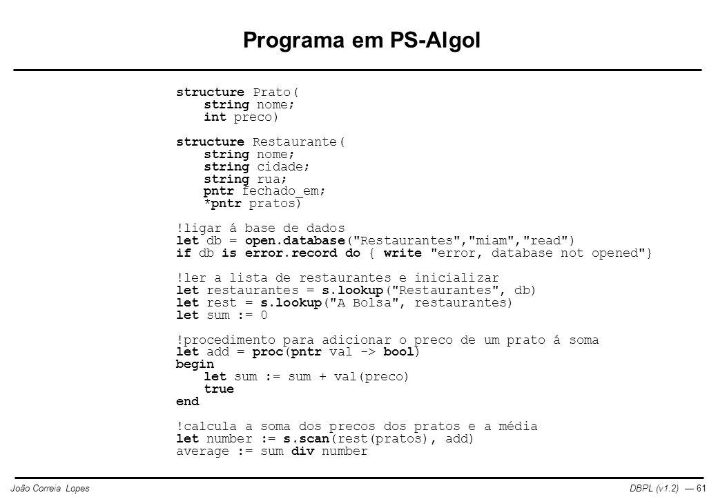 Programa em PS-Algol structure Prato( string nome; int preco)